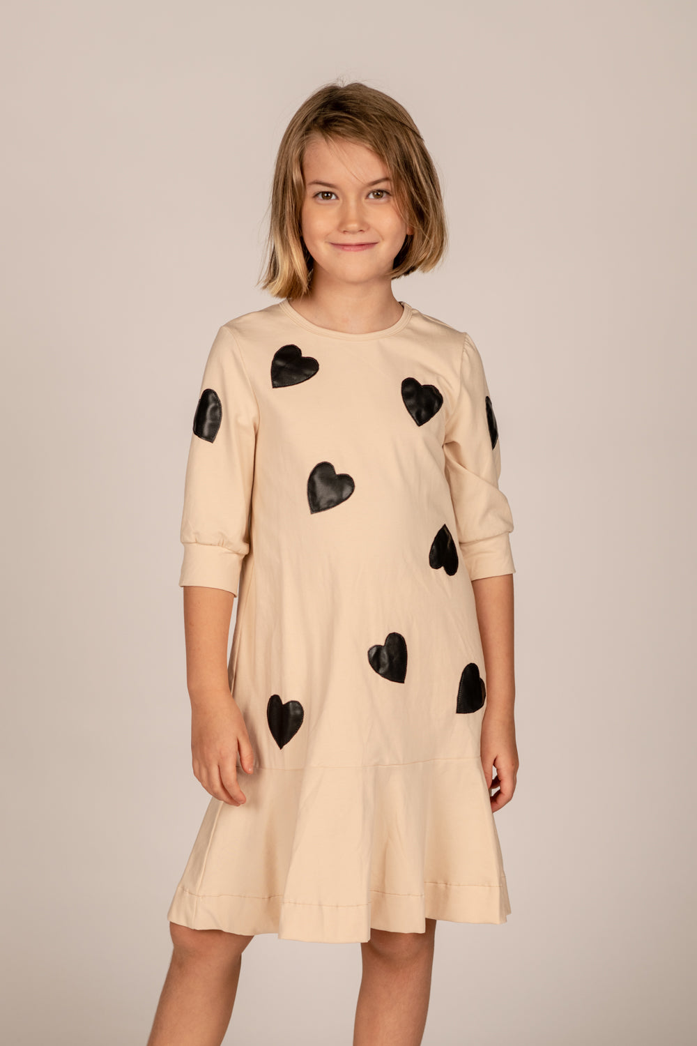 LU COTTON DRESS WITH BLACK LEATHER HEARTS