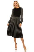 Load image into Gallery viewer, YAL BLACK & WHITE STRIPE KNIT DRESS