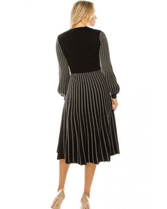 YAL BLACK & WHITE STRIPE KNIT DRESS