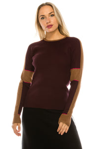 YAL RIBBED SHOULDER C/B  SWEATER