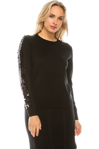 YAL SEQUIN SLEEVE SWEATER