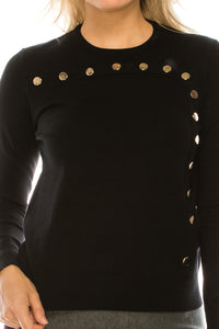 YAL GLD SNAP FRONT DETAIL SWEATER