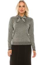 Load image into Gallery viewer, YAL SHIMMER TIE NECK SWEATER