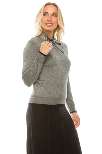YAL SHIMMER TIE NECK SWEATER