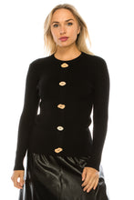Load image into Gallery viewer, YAL WOODEN BUTTON RIBBED SWEATER