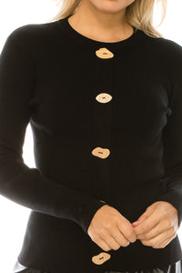 YAL WOODEN BUTTON RIBBED SWEATER