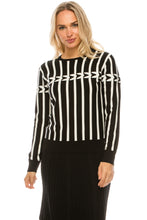 Load image into Gallery viewer, YAL BLK/WHT VERTICAL STRIPE SWEATER