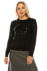 YAL VERTICAL STRIPED SEQUIN FRONT SWEATER