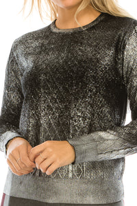 YAL ALL OVER FOILED GLD DETAIL SWEATER