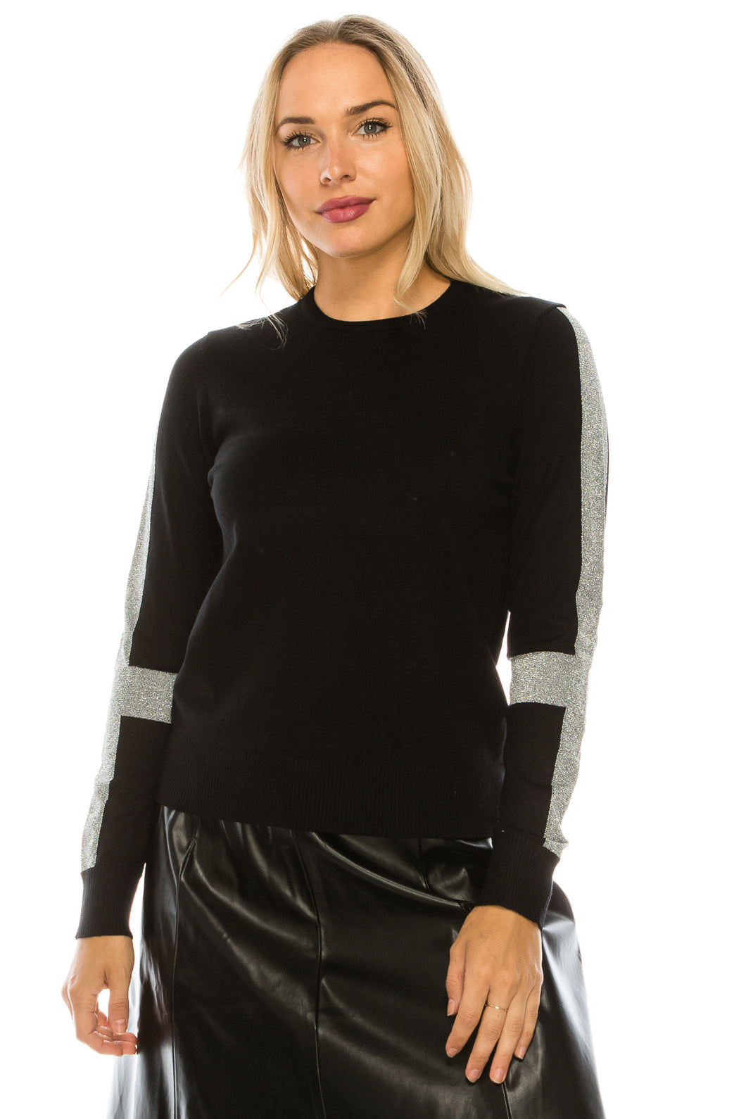 YAL SHIMMER STRIPE SLEEVE SWEATER