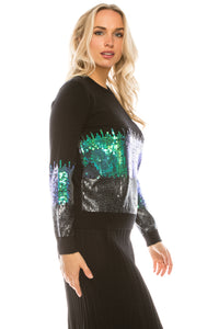 YAL MULTI SEQUIN FRONT AND SLEEVE SWEATER