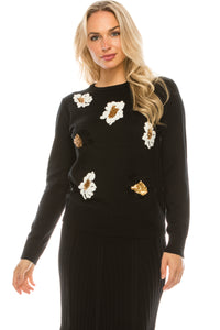 YAL FLOWER EMBROIDER AND SEQUIN FRONT SWEATER