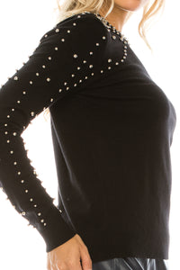 YAL BEADED NECK AND SHOULDER DETAIL SWEATER