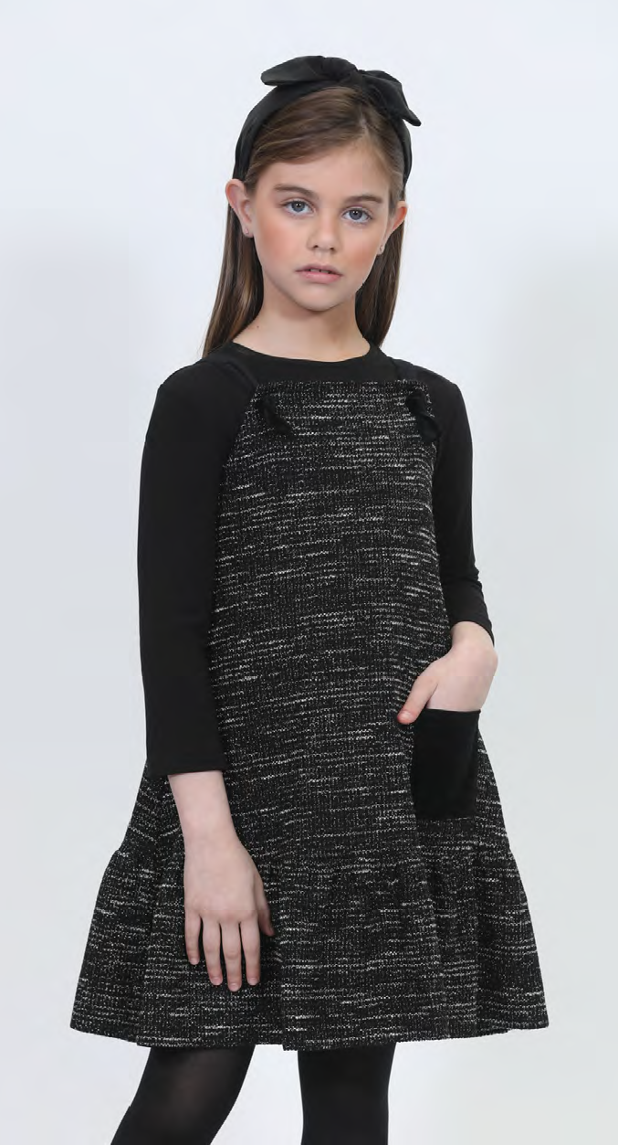 LU SPARKLY JUMPER DRESS WITH VELVET POCKET