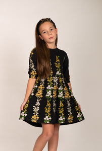 LU FLOWER EMBROIDERED CREPE DRESS