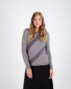 DA GRAY SWEATER WITH DIAGONAL SHIMMER STRIPE
