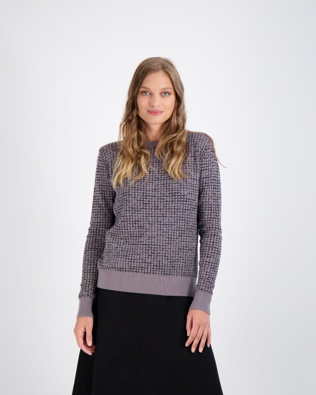 DA GREY SWEATER WITH SHIMMER GRID