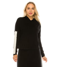 Load image into Gallery viewer, YAL HOODED STRIPE SLEEVE KNIT TOP