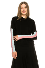 Load image into Gallery viewer, YAL STRIPE SLEEVE HOODED SWEATER