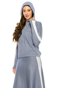 YAL STRIPE SLEEVE HOODED SWEATER