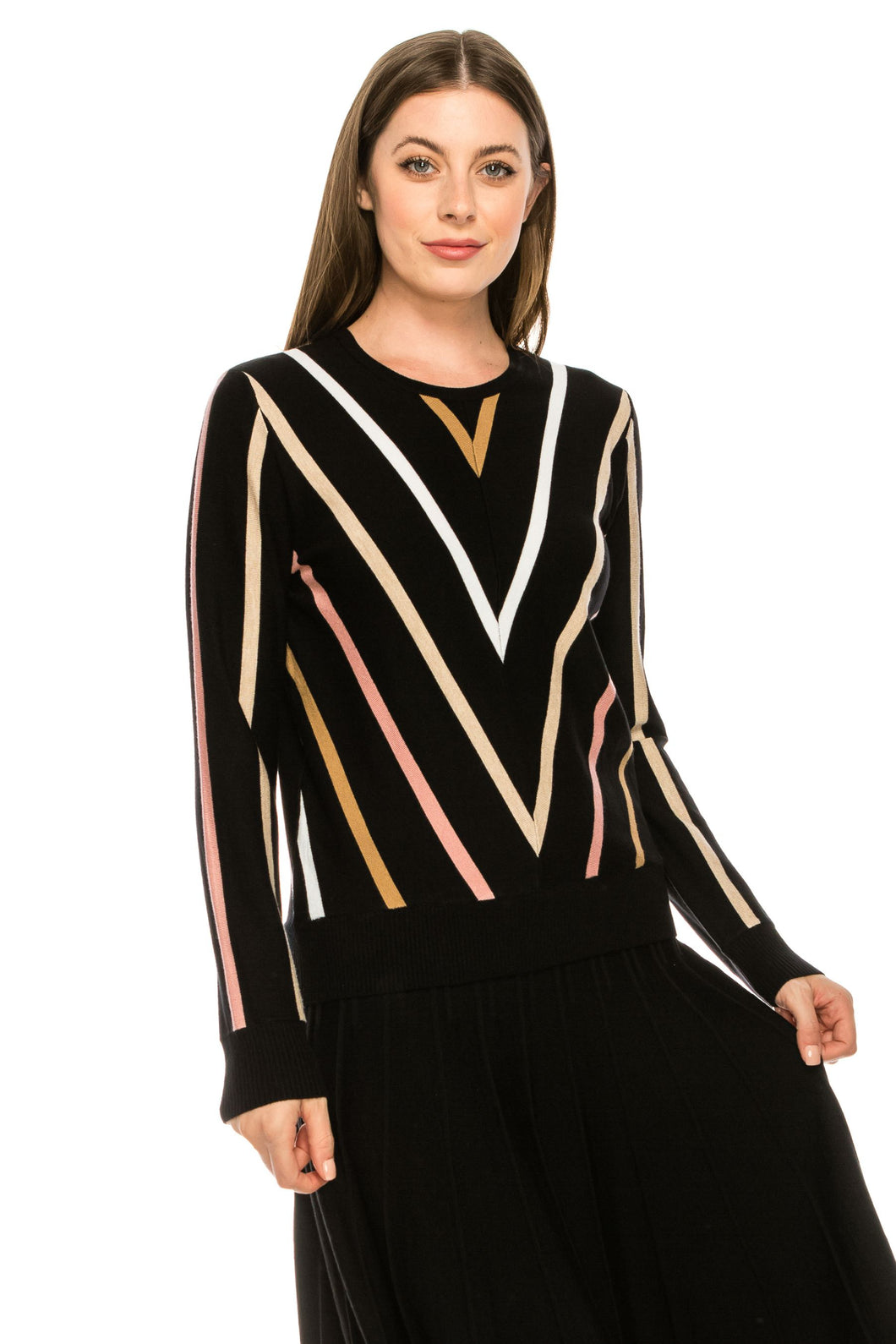 YAL V MULTI COLOR STRIPE PULLOVER