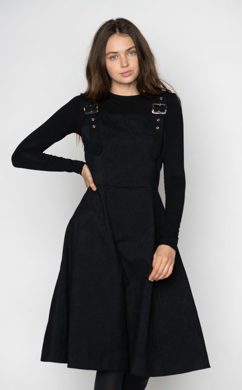 LU CORDUROY JUMPER DRESS WITH BUCKLED STRAPS