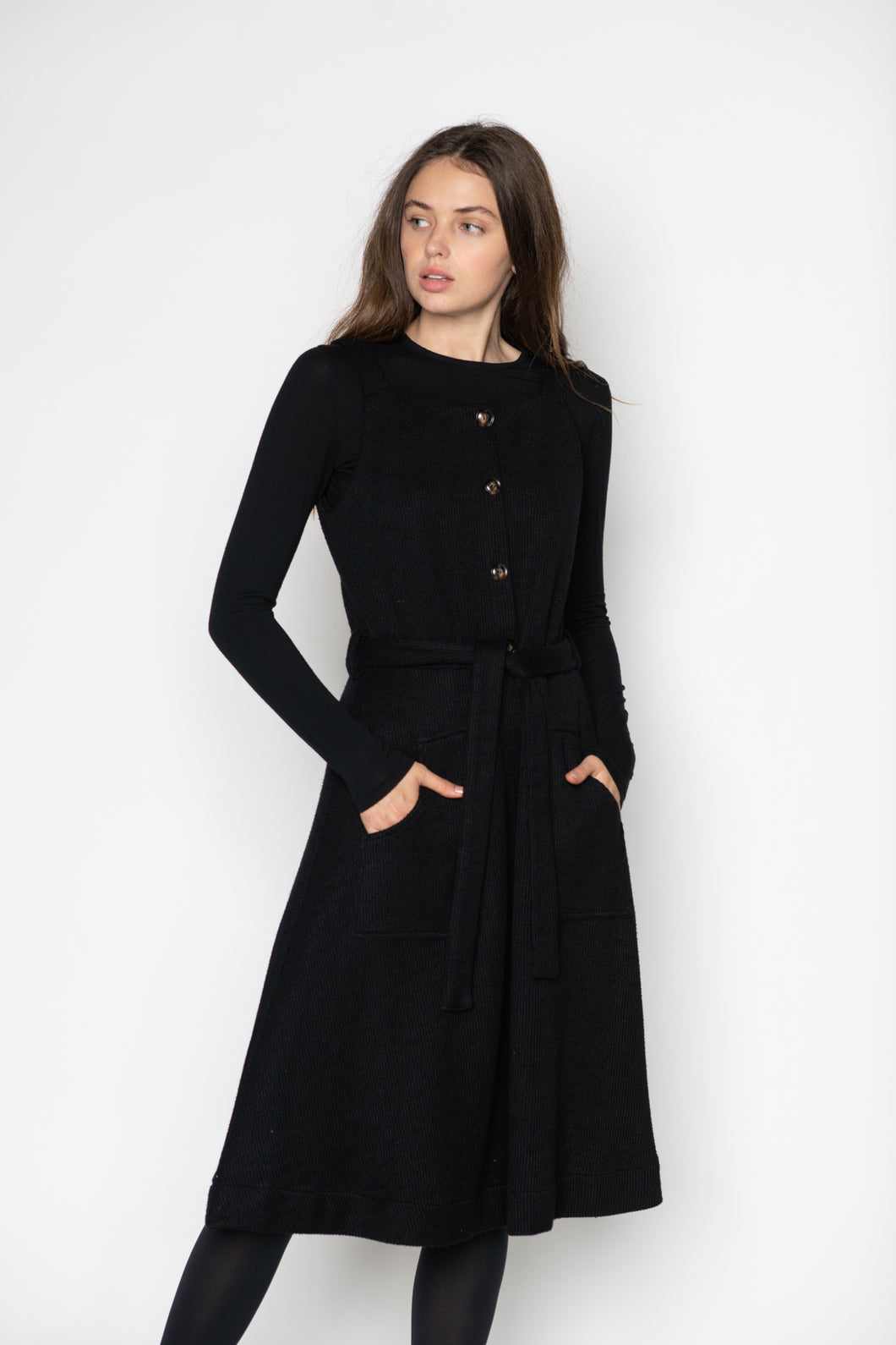 LU KNIT JUMPER DRESS WITH POCKETS AND KNIT BELT