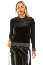 Load image into Gallery viewer, YAL SHIMMER FABRIC FRONT DETAIL SWEATER