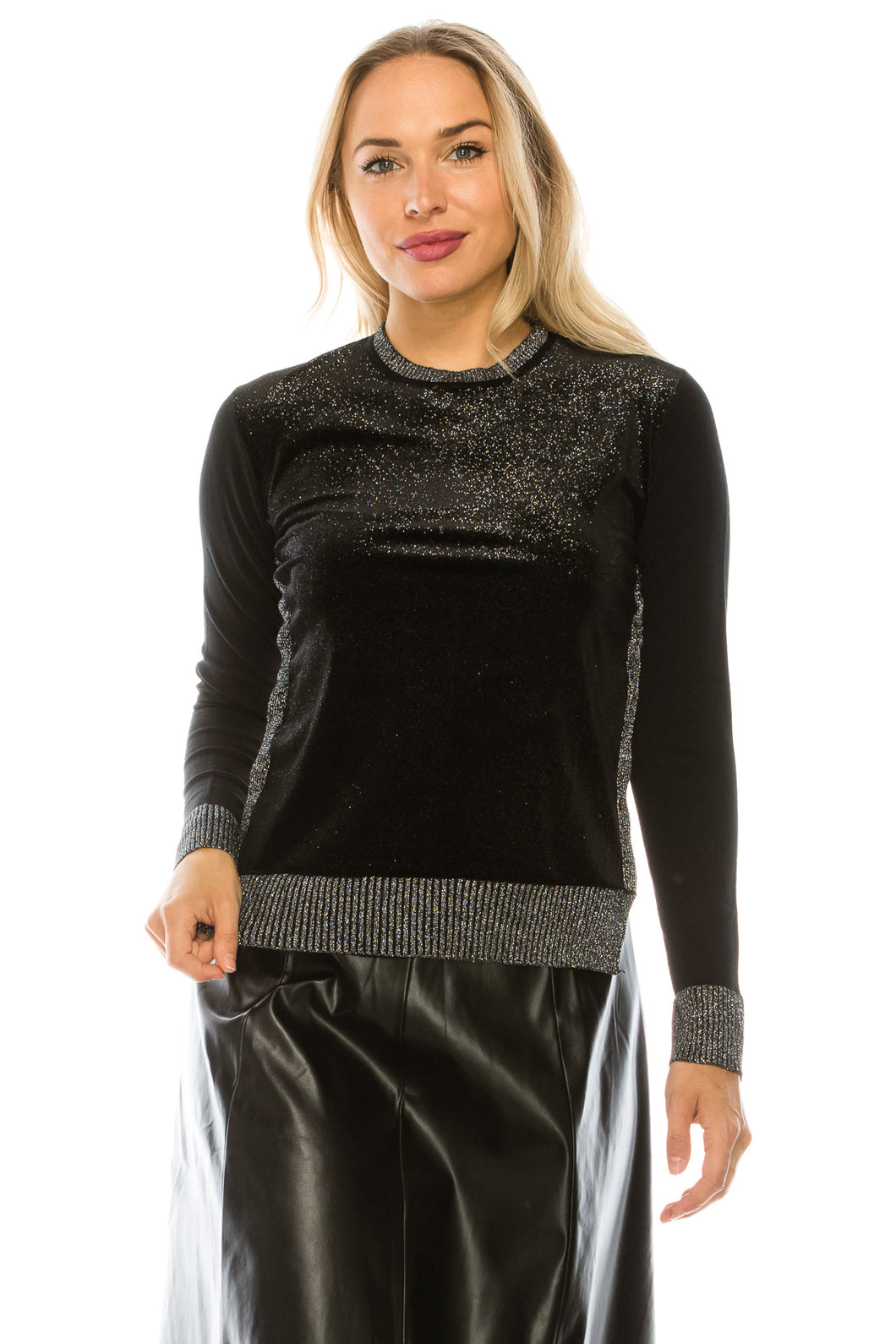 YAL SHIMMER FABRIC FRONT DETAIL SWEATER