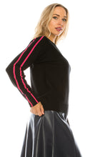 Load image into Gallery viewer, YAL PNK STRIPRED SHOULDER PULLOVER SWTR