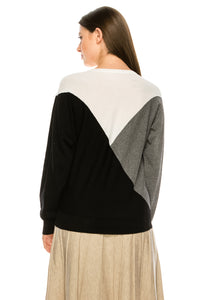 YAL ASYM COLORBLOCK DETAIL SWEATER