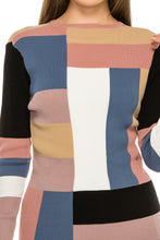 Load image into Gallery viewer, YAL RIBBED MULTI COLOR BLOCK PULLOVER SWTR