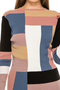 YAL RIBBED MULTI COLOR BLOCK PULLOVER SWTR