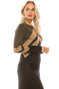 YAL V SHIMMER STRIPE STICKOUT SWEATER