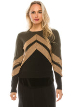 Load image into Gallery viewer, YAL V SHIMMER STRIPE STICKOUT SWEATER