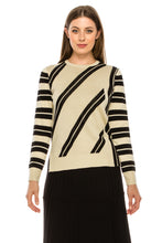 Load image into Gallery viewer, YAL STRIPED FRONT AND SLEEVE PULLOVER SWTR