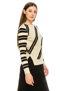 YAL STRIPED FRONT AND SLEEVE PULLOVER SWTR