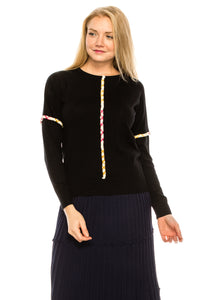 YAL ROPE FRONT AND SLEEVE DETAILED SWEATER