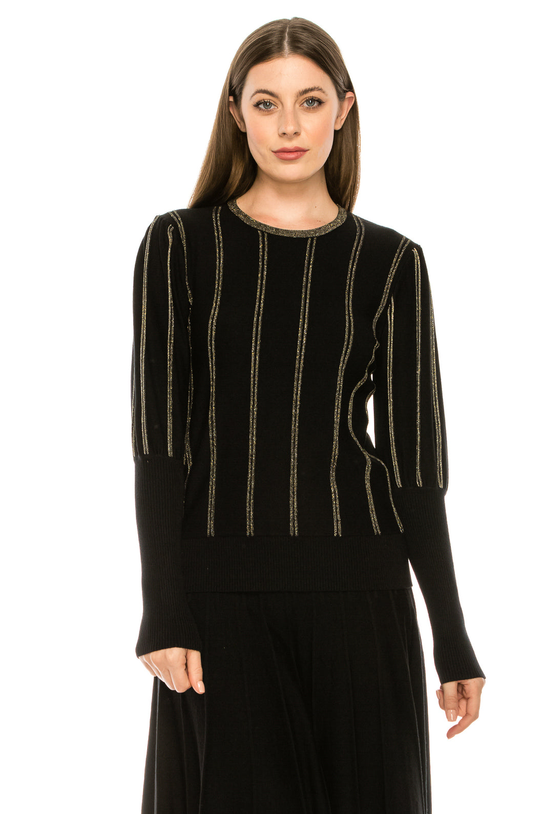 YAL GLD SHIMMER STRIPED RIBBED SLEEVE SWTR