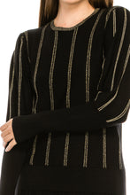Load image into Gallery viewer, YAL GLD SHIMMER STRIPED RIBBED SLEEVE SWTR