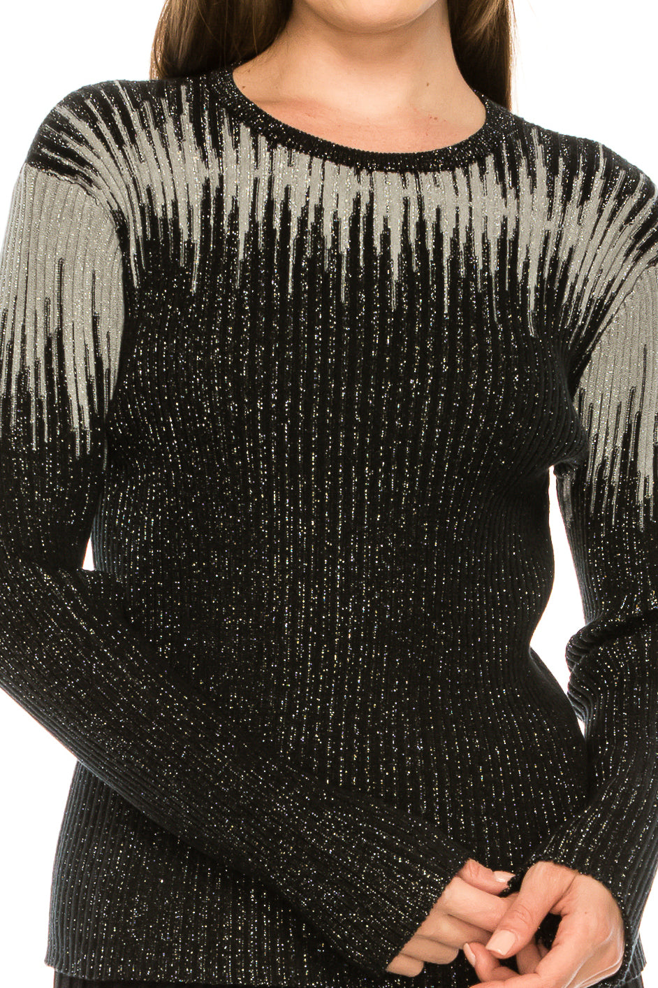 YAL RIBBED SHIMMER DETAIL SWEATER