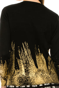 YAL PAINTED GLD FOIL DETAIL HEM SWEATER