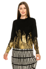 Load image into Gallery viewer, YAL PAINTED GLD FOIL DETAIL HEM SWEATER