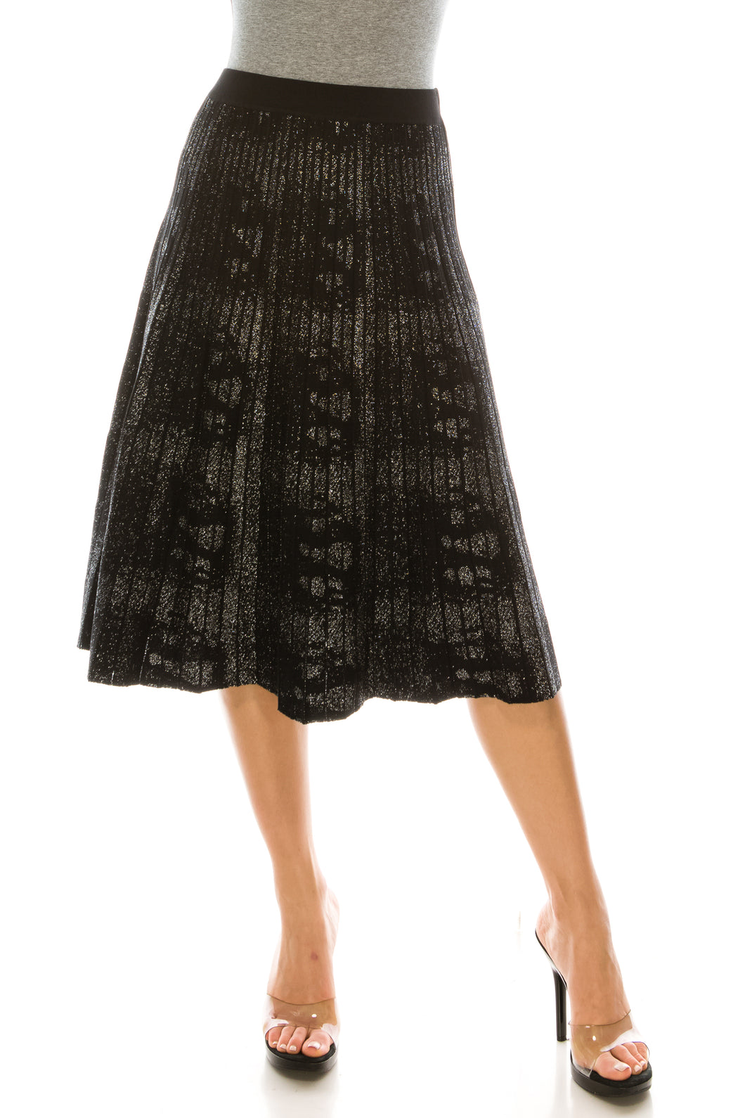 YAL PLEATED SPARKLE SHIMMER KNIT SKIRT