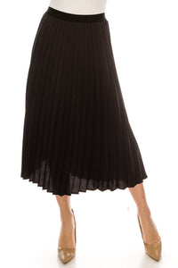 YAL 2-TONE STRIPE PLEAT MIDI SKIRT ELASTIC WAIST