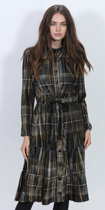 LU BUTTON UP VELVET CHECKER PRINT PLEATED DRESS