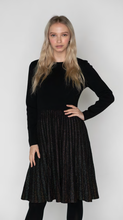 Load image into Gallery viewer, LU KNIT DRESS WITH GLITTER PLEATED BOTTOM