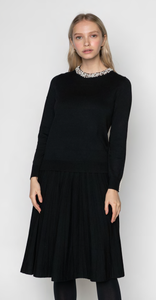 LU KNIT SHIRT WITH PEARL DETAILED COLLAR