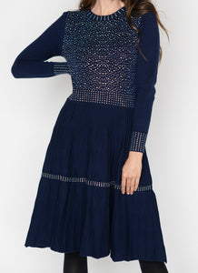 LU LONG SLEEVE DRESS WITH SEQUIN DETAIL