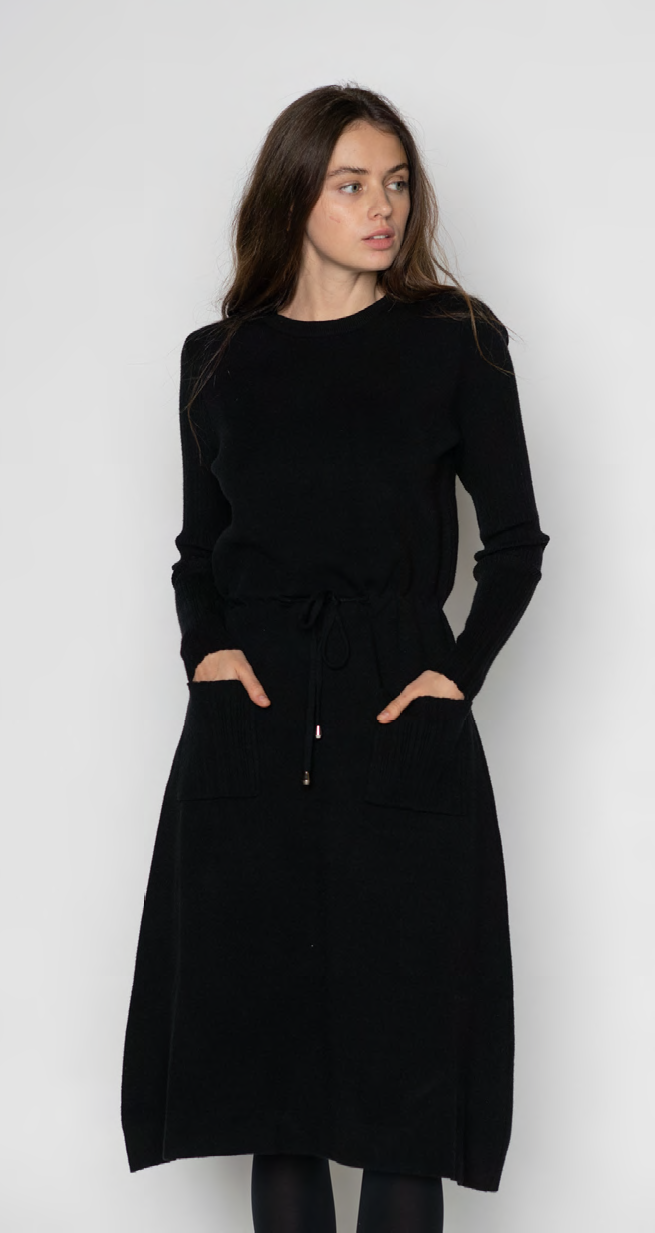 LU KNIT DRESS WITH RIBBED SLEEVES, POCKETS